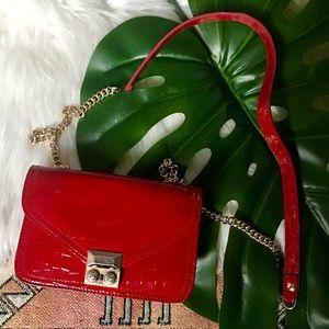 Henri Bendel Red Patent Leather Crossbody w/ Chain